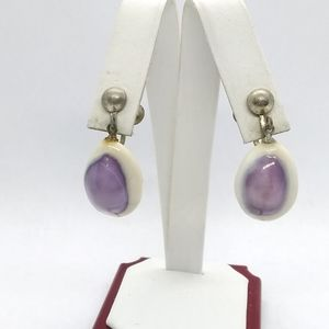 Jewelry - Vintage Purple Cowrie Shell Earrings, Seashell